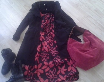 red and black flowered print dress