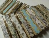 Old world vintage style decoupage theme clothespins set of 10 - blue fleur de lis and music notes
