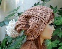 Hand Knit, 100 Percent Cotton, Light Brown, Tan, Rib Knit, Slouchy, Beanie Hat with a Large, Cream, Shaggy, Pom Pom