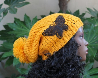 Hand Knit, Golden Yellow, Acrylic, Over Sized, Slouchy, Beanie Hat with Large, Shaggy Pom Pom and Black, Lace, Butterfly Applique Woman