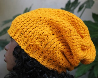 Hand Knit, Golden Yellow, Acrylic, Over Sized, Slouchy, Beanie Hat for Woman or Man Fall Winter Back to School
