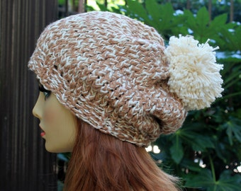 Hand Knit, 100 Percent Organic Cotton, Light Brown, Tan, Cream, Off White Slouchy Beanie Beret Hat with Large Shaggy Cream/Off White,Pom Pom
