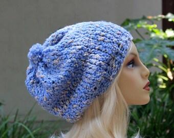 Hand Knit, Light, Sky Blue, Cream Flecks, Acrylic/Polyester/Cotton, Slouchy, Beanie Small Pom Pom Two Inch Headband Woman Man Back to School