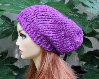 Hand Knit, Plum Purple, Slouchy, Over Sized, Acrylic, Beanie Hat Small Pom Pom Two Inch Headband Women or Men, Fall, Winter, Back to School