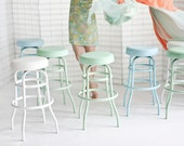 RESERVED for CB: Vintage Diner Stool, Mint, Pale Blue and White. 11 Stools.
