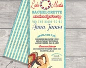 Beach Summer Vintage sexy pin up Invitation Bachelorette weekend, Lingerie Shower Birthday weekend Lake Hens Party Night