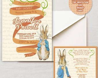Vintage Peter Rabbit Beatrix Potter Baby Shower or  Vintage Nursery Book invite diy print file OR  Printed is available