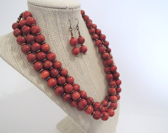 Brick Red Sponge Coral Triple Strand Brass Set Earrings Necklace unique gift  fashion under 50