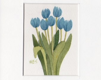 Blue Tulip Group 5x7 Matted Original Watercolor by Wandas's Watercolors