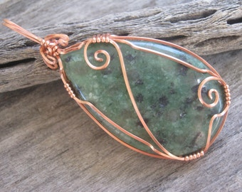 Green Agate Pendant, Wire Wrapped Copper Pendant, Solar Plexus Chakra Pendant, Agate Jewelry, Green Gemstone, READY To SHIP
