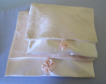 Peach Lace and Satin Lingerie Bags with  flower trimNew, handmade set of two.