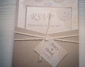 Metallic Pocket Card Wedding Invitation with Twine