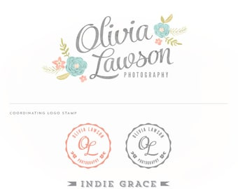 Custom PreDesigned / Watercolor Botanical design and Logo Stamp - photography or boutique logo