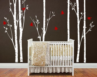 Tree wall sticker, nursery wall decal - Six Big Birch Trees with Flying birds