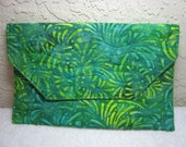 Batik Green & Yellow Quilted Clutch With Free Bookmark