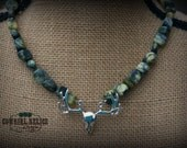 NEW-Deer Hunter, Camo Cowgirl Chunky Western Necklace, Silver, Yellow Turquoise, Brass, Antler
