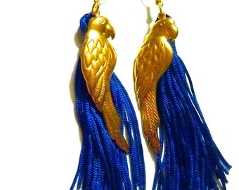 Parrot earrings, VINTAGE gold plated PARROTS and silk blue TASSELS earrings, summer time, tropical earrings, long earrings, ethnic summer