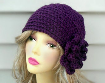 Crochet Beanie Hat MANY COLORS Crochet Hat Womens Hat Crochet Hat with Flower Winter Hat Crochet Hair Accessories Womens Accessories Spring