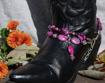 Boot Bracelet of Magenta Agate Beads