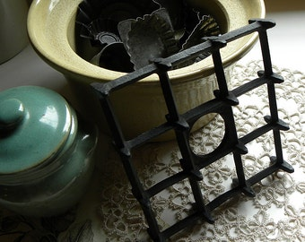 Antique Rare Find FRENCH Bakery Cast Iron Unitarian SPIKE Metal Trivet French Country Kitchen, Food Photo Props