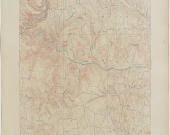 Antique Rare MASSACHUSETTS Haley, Vermont & Detailed Surrounding Areas Fine 1908 US Geological Survey Topographic Map