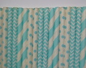 50 Mixed Light Blue Striped, Chevron and Polka Dot Paper Straws- Baby Boy Shower Decorations- Birthday Party, Cake Pops, Bridal Shower