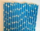 25 Blue With White Star- Patriotic Party Paper Straws- Blue Stars Baby Shower-Memorial Day, Fourth of July Party, Wonder Women, Cake Pops