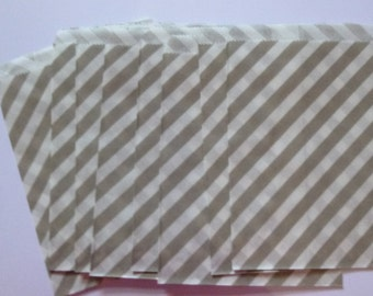 """25 Light Grey and White Striped Paper Treat Baggy- Goody Bitty Bags- Baby Bridal Shower Gift Bag-Candy, Treats, Utensil Baggy- 5"""" x 7"""""""