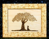 Buddha sitting under the Bodhi Tree Wood Print and Frame laser engraved 10.5 x 8 inches