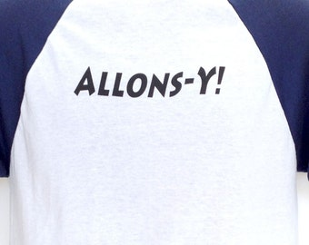 Who Team Tennant Short Sleeved Double-Sided Baseball Jersey: 10th Doctor Allons-Y