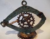 SteamPunk Gear Fish Stoneware Sculpture