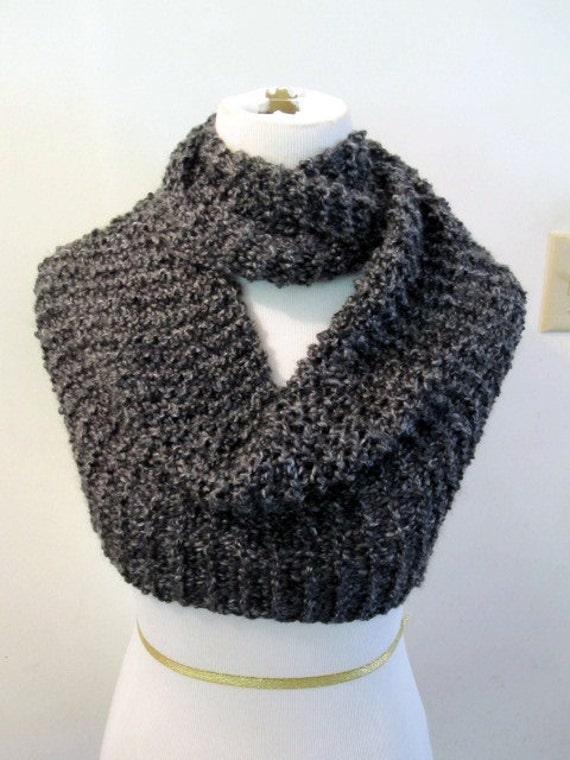 Knitting Pattern Cowl Shrug : Charcoal Grey Edwardian Knit Shrug Snood Cowl Shawlet