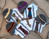 GET THE SET -  Baby Boy Tie Bodysuit with Suspenders, Tie, and Hat. Preppy, Photo Prop, Fall, Winter
