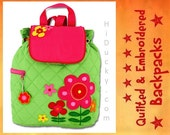 GrEEN GArDEN PiNK FLOWErS PeRSONALIZED STePHEN JoSEPH Inc BaCKPACK FrEE Name Handcrafted Quilted Bag Toddler Boy Girl Diaper Bag Baby Gift