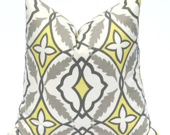 Throw Pillow Covers ONE 24x24 Yellow Gray Pillow Bright Yellow Pillow  Cushion Decorator Pillow Covers Housewares Printed Fabric both sides