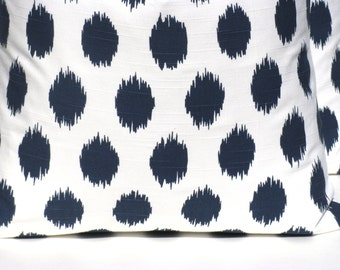 Throw Pillow Cover ONE 12x16 or 12x18 Lumbar Navy Ikat Dots Pillow Cover Decorative Ikat Pillow Decorative Pillows Cushion Covers Set of TWO