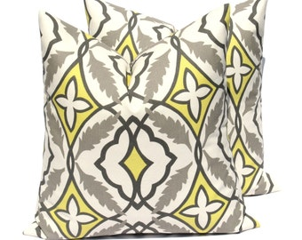 Decorative Throw Pillows Yellow Gray Pillow Throw Pillow Covers 20 x 20  Yellow Pillow Grey Pillow Printed fabric both sides Accent Pillow