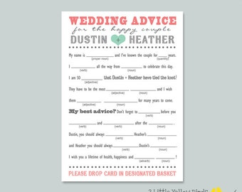 Wedding Advice Card - MAD LIBS (Heart)