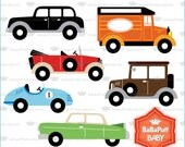 Buy 2 Get 2 Free ---- Digital Vintage Cars Clip Art ---- Personal and Small Commercial Use ---- BB 0811