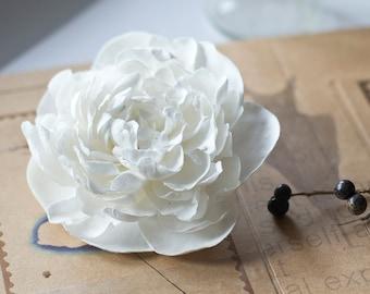 White peony hair clip - bridal hair clip - white flower for hair - bridal hair flower - wedding bridal hair clip - hair clip bridal