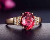 Engagement Ring -  1.8 Carat Rubellite Tourmaline Engagement Ring With Diamonds In 14K Rose Gold