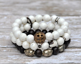 White Stone Tibetan Beaded Bracelets Set of 2 by Bead Rustic | FREE SHIPPING