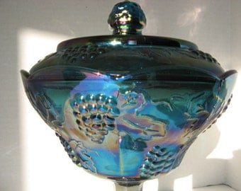 Vintage Blue Carnival Glass Candy Dish Stemmed With Lid - Iridescent