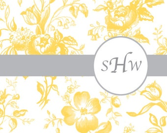 Floral Toile Personalized Stationery/ Folded Notes 10 in a set