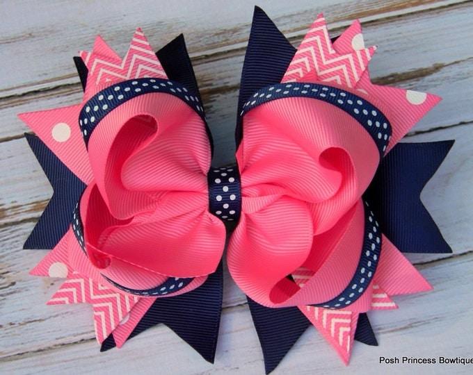 Girls hair bows Navy blue Pink Hair bows Stacked Hair Bow Big hair bows Boutique hair bows Chevron, Polka Dot, hair bow, babies, toddlers