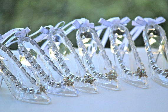 Glass slipper necklace cinderella wedding by favorsboutique