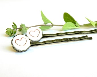 2 Ceramic Bobby Pins Red Heart  White Porcelain Antique Bronze Lace Round Tray Straight Hair Clips