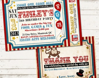 Circus Birthday Invitation & thank you card- Vintage Inspired / Retro Circus or Carnival - Custom, Digital, Printable designs