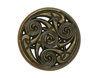 3 Celtic Swirls 7/8 inch ( 22 mm ) Metal Buttons Antique Brass Color