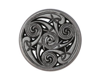 6 Celtic Swirls 11/16 inch ( 17 mm ) Metal Buttons Antique Silver Color